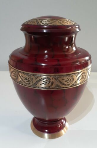 CREMATION URN ADULT - DEEP RED WITH GOLD COLOURED TRIM