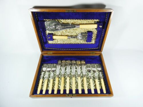 Antique Victorian 14pc Boxed Silver Plated Fish Serving Cutlery Set Knife Fork