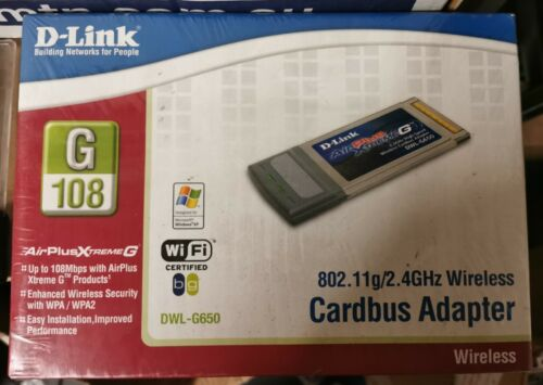 DLINK DWL-G650 Cardbus WIRELESS PCMCIA (108Mbps) Network Adapter
