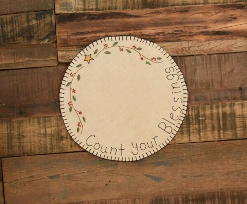 """New Primitive Country COUNT YOUR BLESSINGS STAR BERRY VINE CANDLE MAT Doily 9"""""""