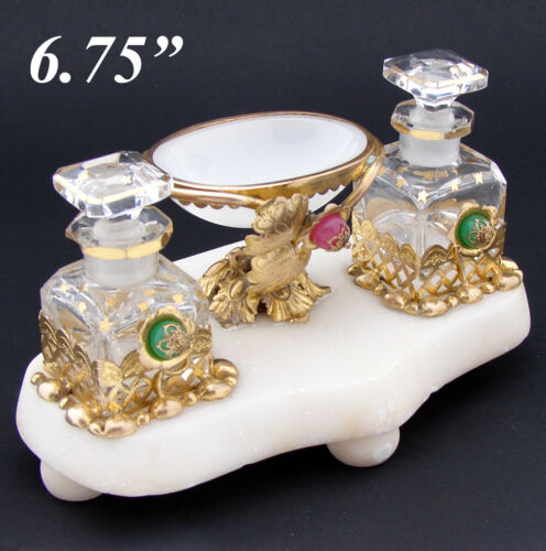 Antique French Napoleon III Palais Royal Style Perfume Stand, Caddy, Opaline Gls