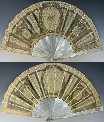 Elegant Antique French 28.5cm Sequined Fan, 2nd Empire Crossed Torches, Sequins
