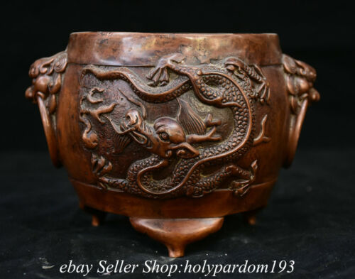 """5.6"""" Marked Old Chinese Red Bronze Dynasty Dragon Beast Ear incense burner Ding"""