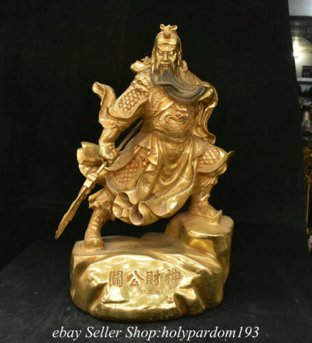 """19.6"""" Old Chinese Bronze Gilt Dynasty General Guan Gong Yu Statue Sculpture"""