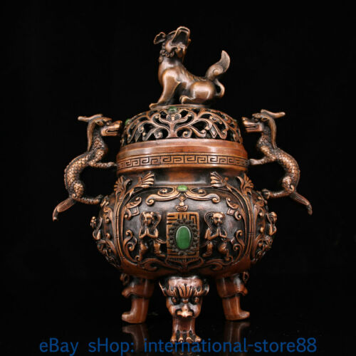 """8.8"""" Old China Copper inlay Gems Palace Dragon Beast Ear Incense Burners Censer"""