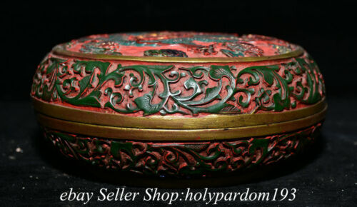 """7.6"""" Marked Old Chinese Red Lacquerware Dynasty Dragon Storage Round Box"""