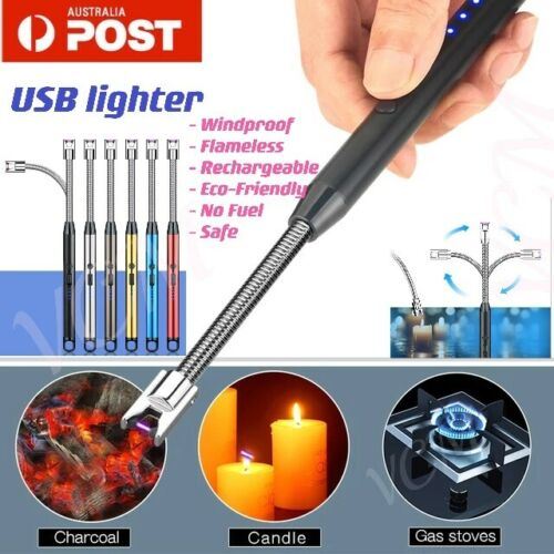 Electric Rechargeable Flameless USB Lighter Candle BBQ Windproof Kitchen Tool