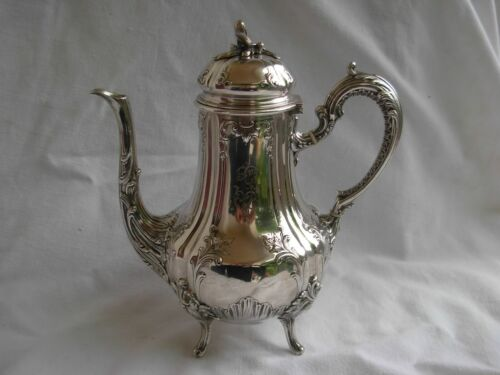 ANTIQUE FRENCH STERLING SILVER COFFEE POT,LOUIS XV STYLE,EARLY 20th CENTURY