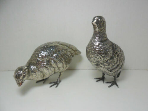 Two Antique Silver Plated Partridge Game Birds Circa 1900's - 1940's