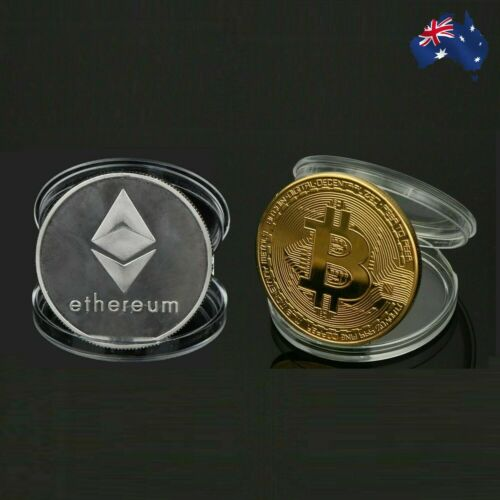Bitcoin & Ethereum Coin BTC ETH Gold Silver Physical Metal Case Cryptocurrency