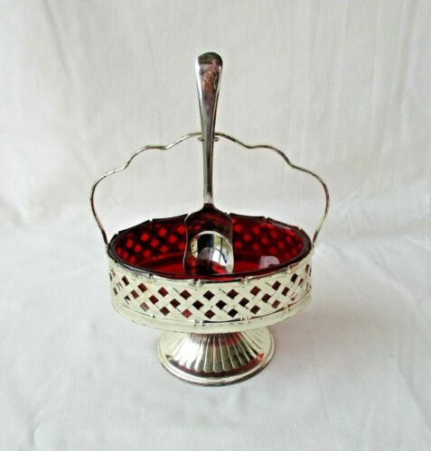 Vintage Ruby Red Oval Glass Jam Dish Silver Plate Basket & Spoon England