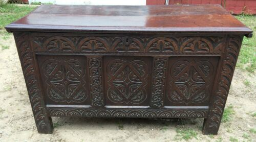 """52"""" Antique English Trunk Coffer Hand Carved Early England Large"""