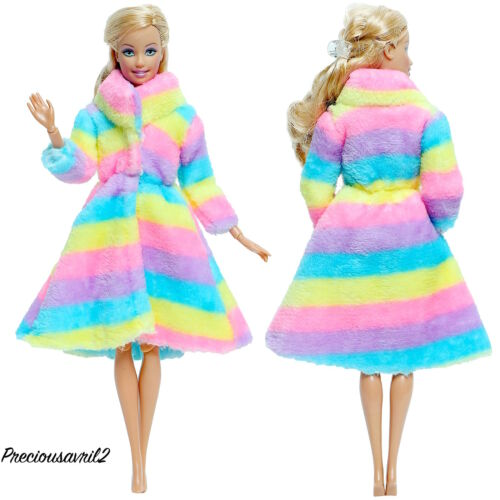 New Barbie Doll Clothes coat rainbow fur coat clothing clothes outfit clothing