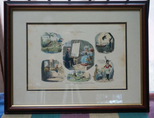 George Cruikshank UGLY CUSTOMERS - 1835 Hand Colored Etching - 12 x 8 FRAMED