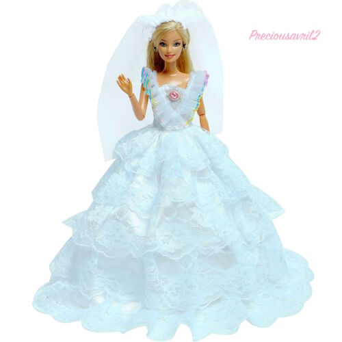 New Barbie doll clothes bride wedding dress veil evening bridal gown outfit