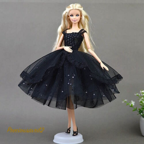 New Barbie doll clothes party evening clothing outfit black sequin net dress.