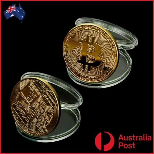 2 x Bitcoin Coin BTC Gold Plated Physical Metal Case Cryptocurrency Collectable.