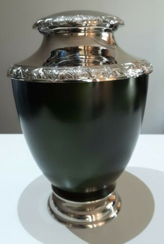 CREMATION URN ADULT - GREEN AND SILVER NICKEL URN -Small Defects
