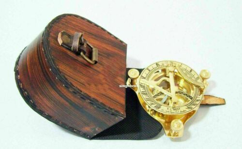 Brass Sundial Compass Maritime Vintage West London Compass W Leather case