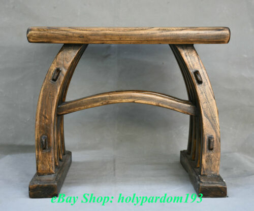 """15"""" Old Chinese Dynasty Huanghuali Wood Hand-made Stool Footstool Furniture"""