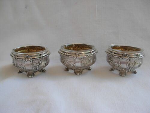 ANTIQUE FRENCH STERLING SILVER CRYSTAL SALT CELLAR,SET OF THREE,LATE 19 CENTURY.