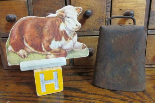 Antique Vintage Cow Bell, Wooden Block, Cardboard Cow With Stand
