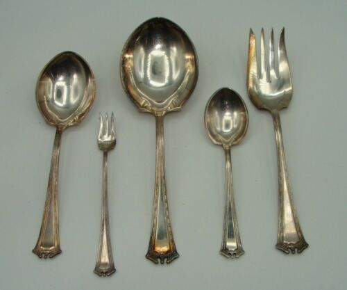 1914 CONTINENTAL Lot 2 Casserole Spoons Meat Fork Hostess Set 1847 Rogers Silver