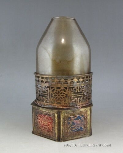 Nice Chinese Old Copper Carved Flowers Six parties Opium lamp.Mark