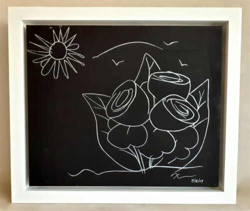 JEFF KOONS -- 2009 SIGNED ORIGINAL PAINTING-DRAWING ON CANVAS FLOWERS PROVENANCE <br/> NEW ACQUISITION -- ON SALE !!! FRAMED !!! REDUCED !!!