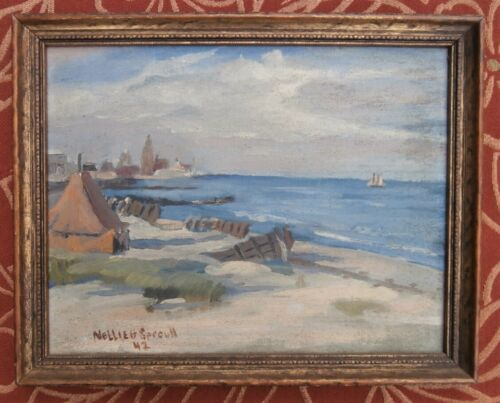 1942 Painting Atlantic City Artist Nellie Sproull New Jersey Shore Impressionist