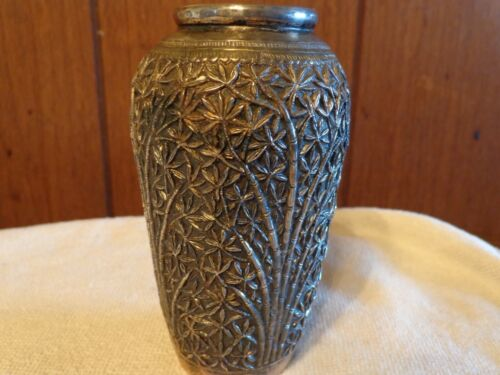 """Antique Signed Myanmar Burma Chased & Repoussed Bamboo Silver Vase 4 6/8"""" Tall"""