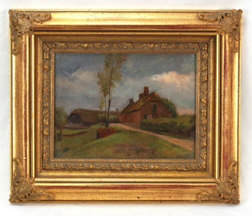 Early 20th Century Impressionist Oil Painting Village Houses on Country Lane
