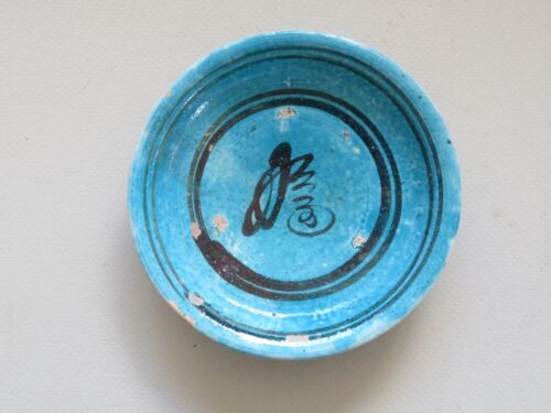 UNUSUAL ANTIQUE CHINESE TURQUOISE & BLACK DISH WITH CALLIGRAPHY MING  NO RESERVE