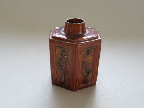 ANTIQUE CHINESE SANCAI TEA CADDY WOOD LID - CALLIGRAPHY --- QING DYNASTY ---- NR