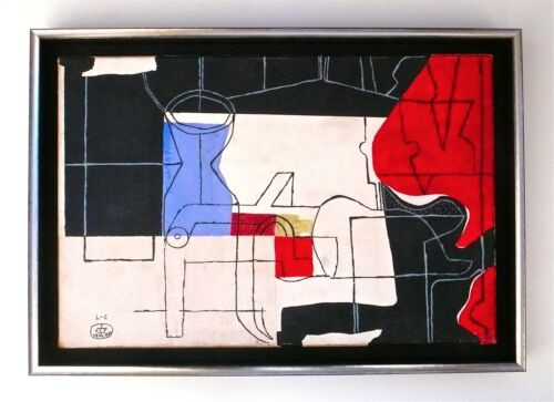 LE CORBUSIER -- A SUPERB 1960 SIGNED OIL PAINTING, CUBIST, MODERNIST, ABSTRACT <br/> NEW ACQUISITION -- ON SALE !!! FRAMED !!! REDUCED !!!