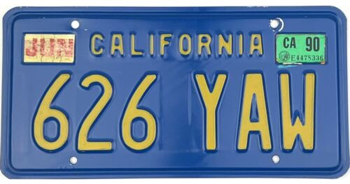 *99 CENT SALE*  1990 California Blue Yellow License Plate #626YAW No Reserve