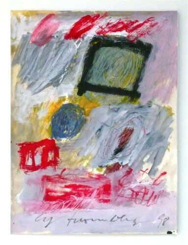 CY TWOMBLY - A 1998 SIGNED ORIGINAL ABSTRACT GOUACHE PAINTING REDUCED, SALE !!