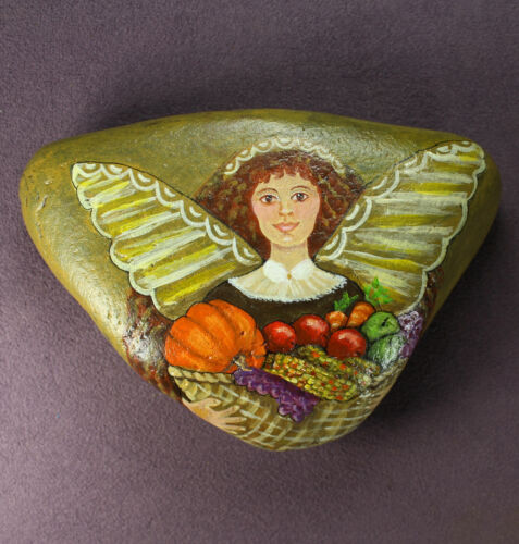 HARVEST ANGEL STONE ART Hand Painted Rock Lady Bounty Autumn Fall Thanksgiving