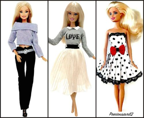 New barbie doll clothes clothing sets 3 outfits summer dresses top pants skirt