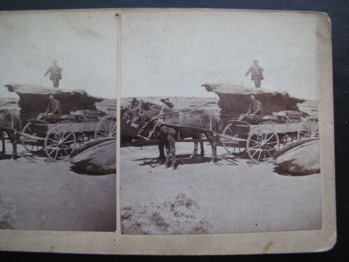 1880 Armed Man on Horse Buggy & Devil's Punch Bowl w/Pilcher - Stereoview Card