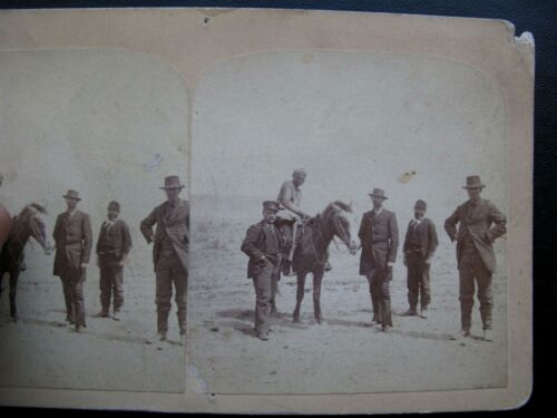1880 American Indian on Horse w/Group of City Folk  - Stereoview Card