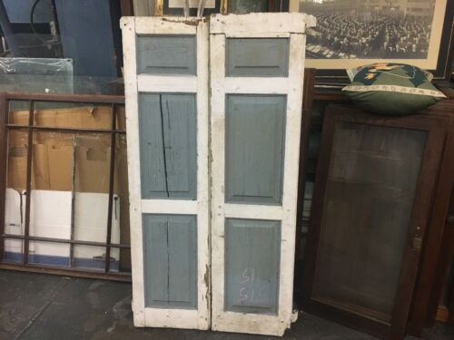 """pair c1900 raised 3 panel house shutters 57.5"""" x 15.5"""" wide old forged hardware"""