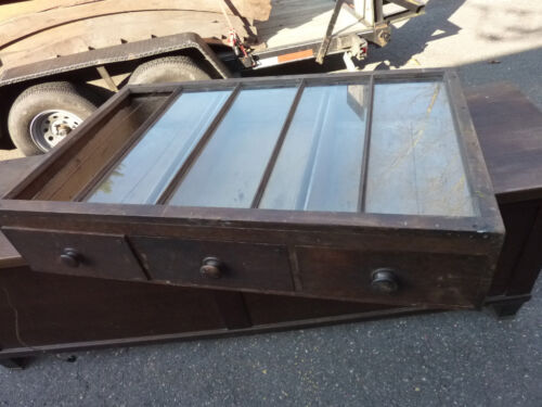 """19th century PINE slanted top COUNTRY store counter top CABINET 49 x 31.5 x 10"""""""
