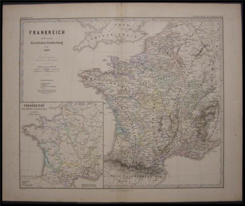 1880 Antique Map of 1322 France Frankreich Church Rule