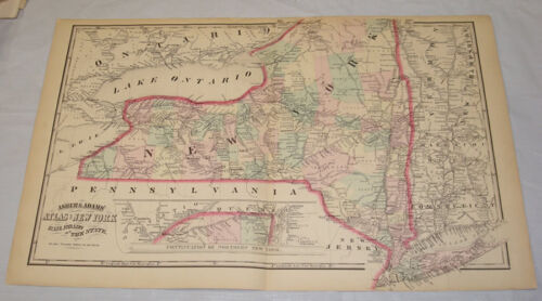 1871 MAP of RAILROADS OF NEW YORK STATE, by ASHER & ADAMS, 14.5x23.5""
