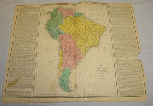 1820 MAP of SOUTH AMERICA/Hand Colored