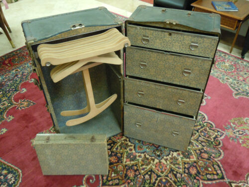 Vintage Wardrobe Steamer Travel Chest Case Trunk Hole Proof w/Key RARE REHOME!