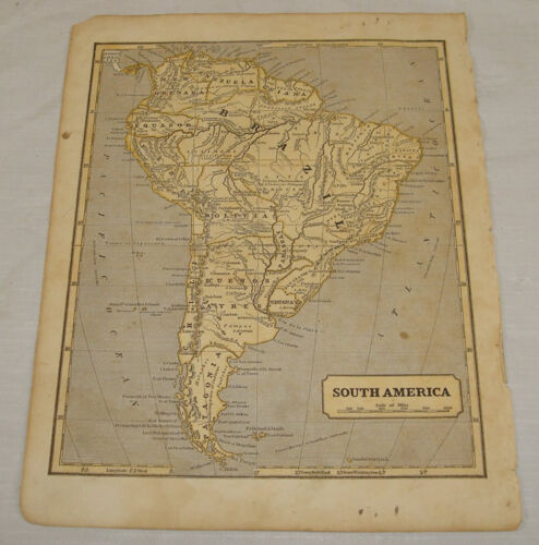 1844 COLOR MAP of SOUTH AMERICA///Morse