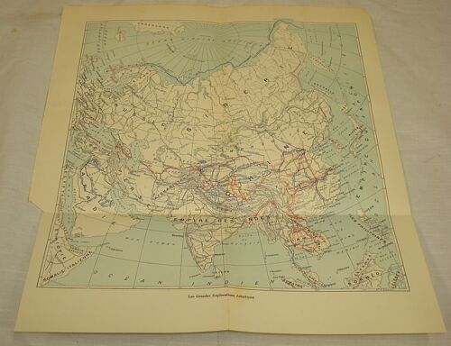 1913 Antique Map/MAJOR EXPLORATIONS TO ASIA