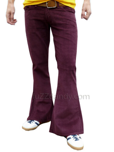 FLARES Red Purple mens bell bottoms Cords hippy vtg indie trousers 60s 70s NEW <br/> ALL SIZES AVAILABLE 30 32 34 36 38